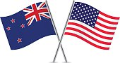 American and New Zealand flags. Vector.