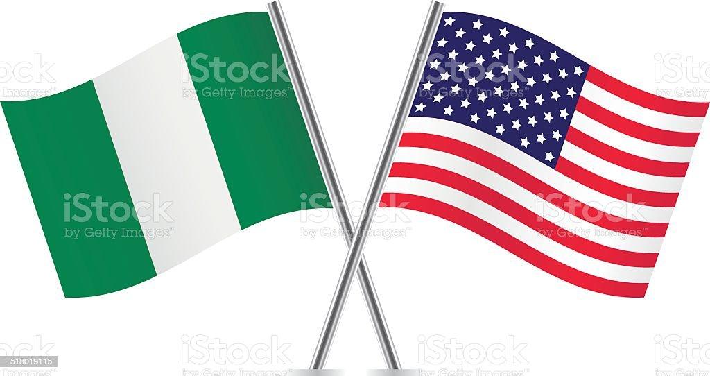 American and Nigerian flags. Vector. vector art illustration