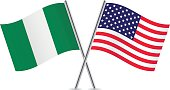 American and Nigerian flags. Vector.