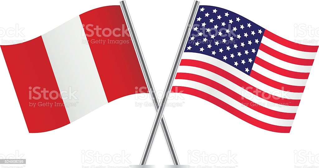 American and Peruvian flags. Vector. vector art illustration