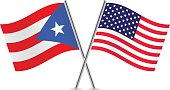 American and Puerto Rican flags. Vector.