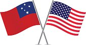 American and Samoa flags. Vector.