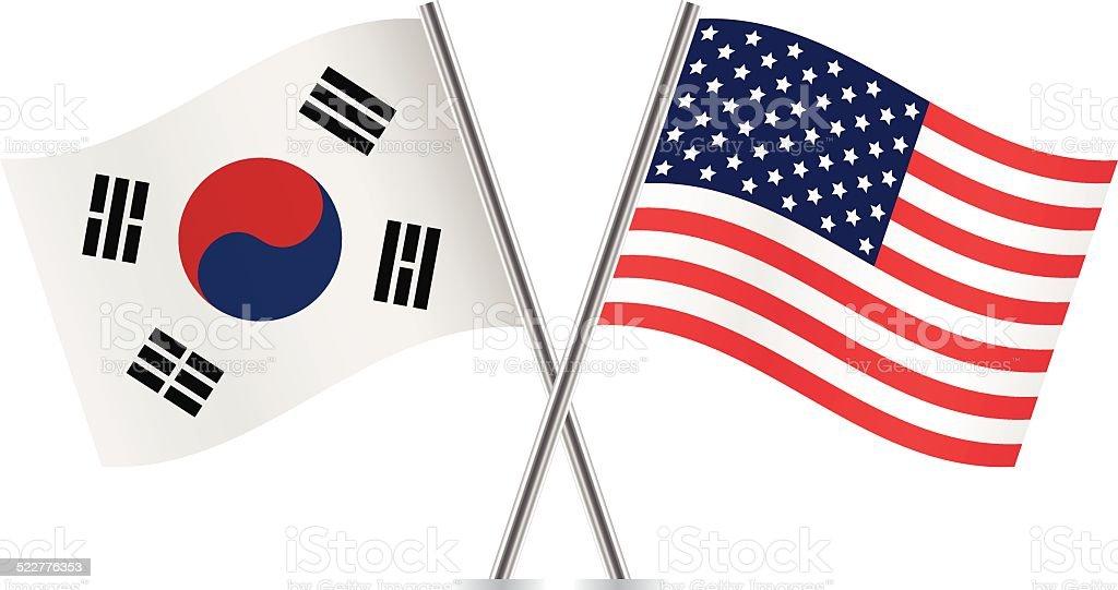 Bandeiras Americanas e da Coreia do Sul.  Vetor. - ilustração de arte em vetor