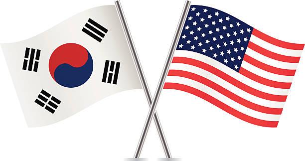 アメリカ、韓国の国旗。 ベクトルます。 - 韓国の国旗点のイラスト素材/クリップアート素材/マンガ素材/アイコン素材