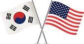 American and South Korean flags. Vector.