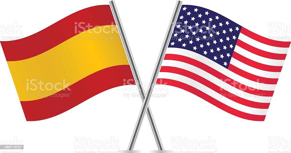 American and Spanish flags. Vector. vector art illustration