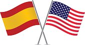 American and Spanish flags. Vector.