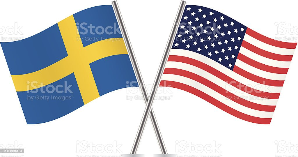 American and Swedish flags. Vector. vector art illustration