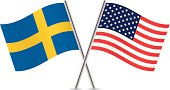 American and Swedish flags. Vector.