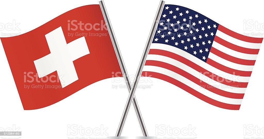 American and Switzerland flags. Vector. vector art illustration