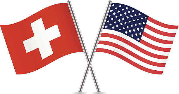 American and Switzerland flags. Vector. vector art illustration