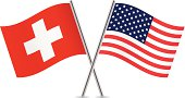 American and Switzerland flags. Vector.