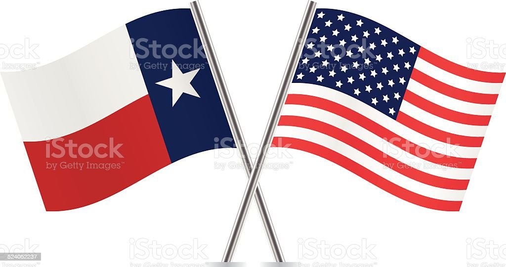 American and Texas flags. Vector. vector art illustration