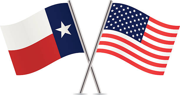 American And Texas Flags Vector Art Illustration