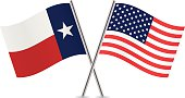 American and Texas flags. Vector.