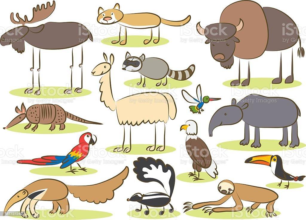 American animals kids drawing vector art illustration