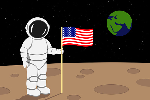 American astronaut lending on moon and hold flag of USA in his hand. Vector illustration