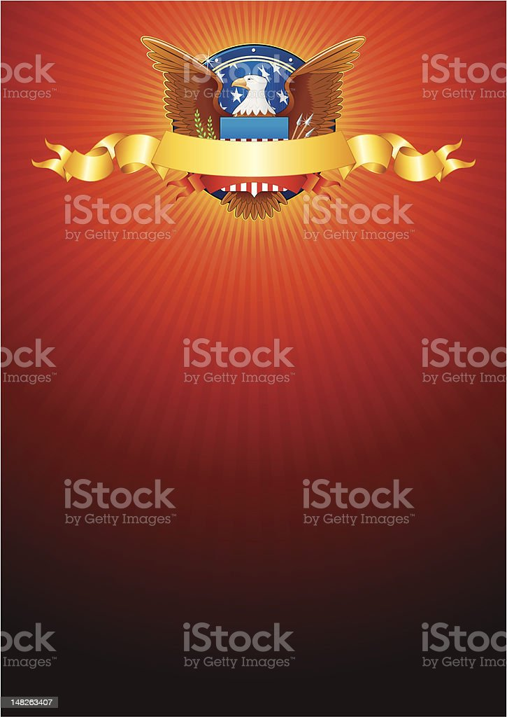 American background with eagle and golden ribbon vector art illustration