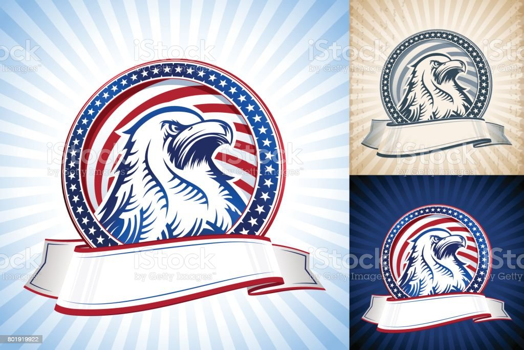 American Bald Eagle Natioal Symbol USA Independence Day Head Set vector art illustration
