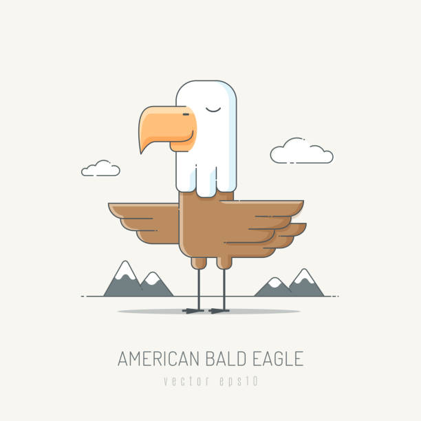 american bald eagle - eagle character stock illustrations, clip art, cartoons, & icons