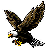 American Bald Eagle with Open Wings and Claws in Cartoon Style. Great for Sport team/ e-sport team / school mascot