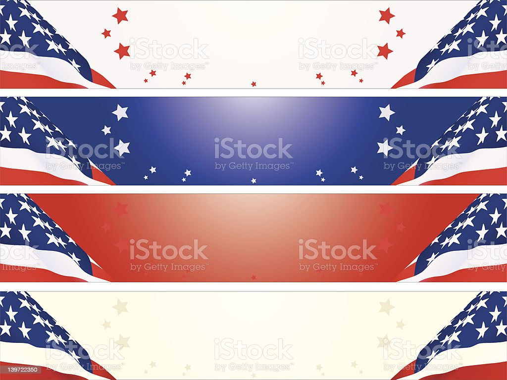 American banners - four colors vector art illustration