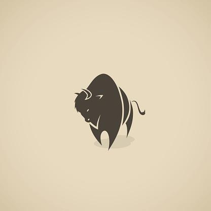 American bison symbol - vector illustration