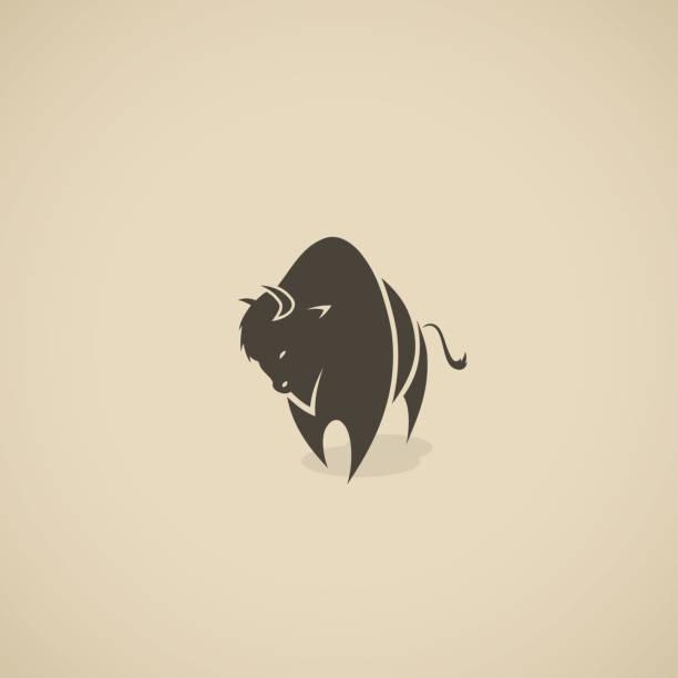 American bison symbol - vector illustration American bison symbol american bison stock illustrations
