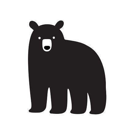 American Black bear drawing, simple cartoon illustration. Isolated vector clip art.