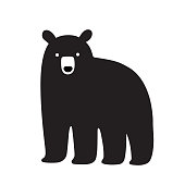 American Black bear drawing, simple cartoon illustration. Isolated vector clip art.