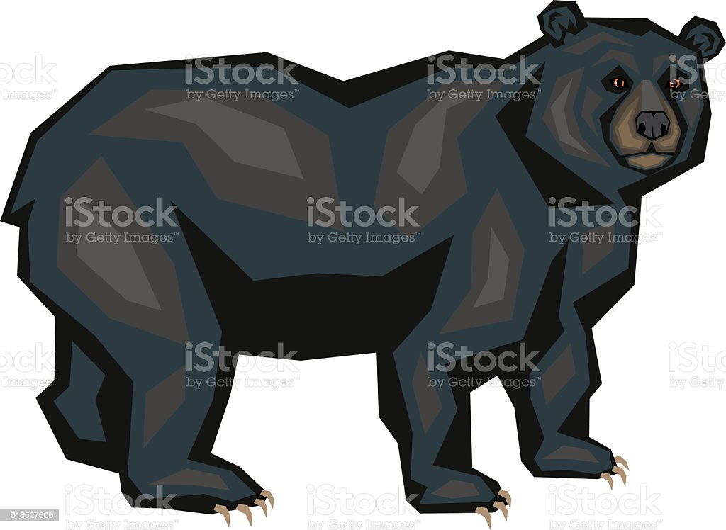 American black bear vector art illustration