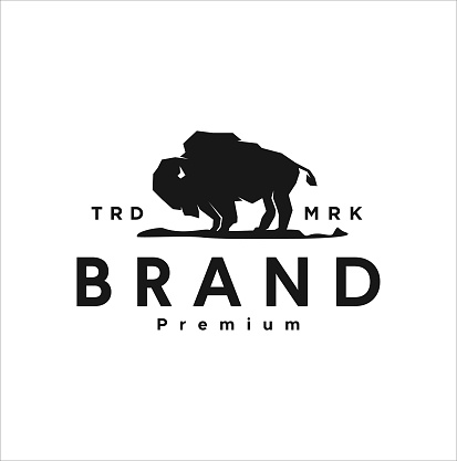American black Bison design Vector Illustration template. vintage retro buffalo, cattle, angus and bull silhouette mascot