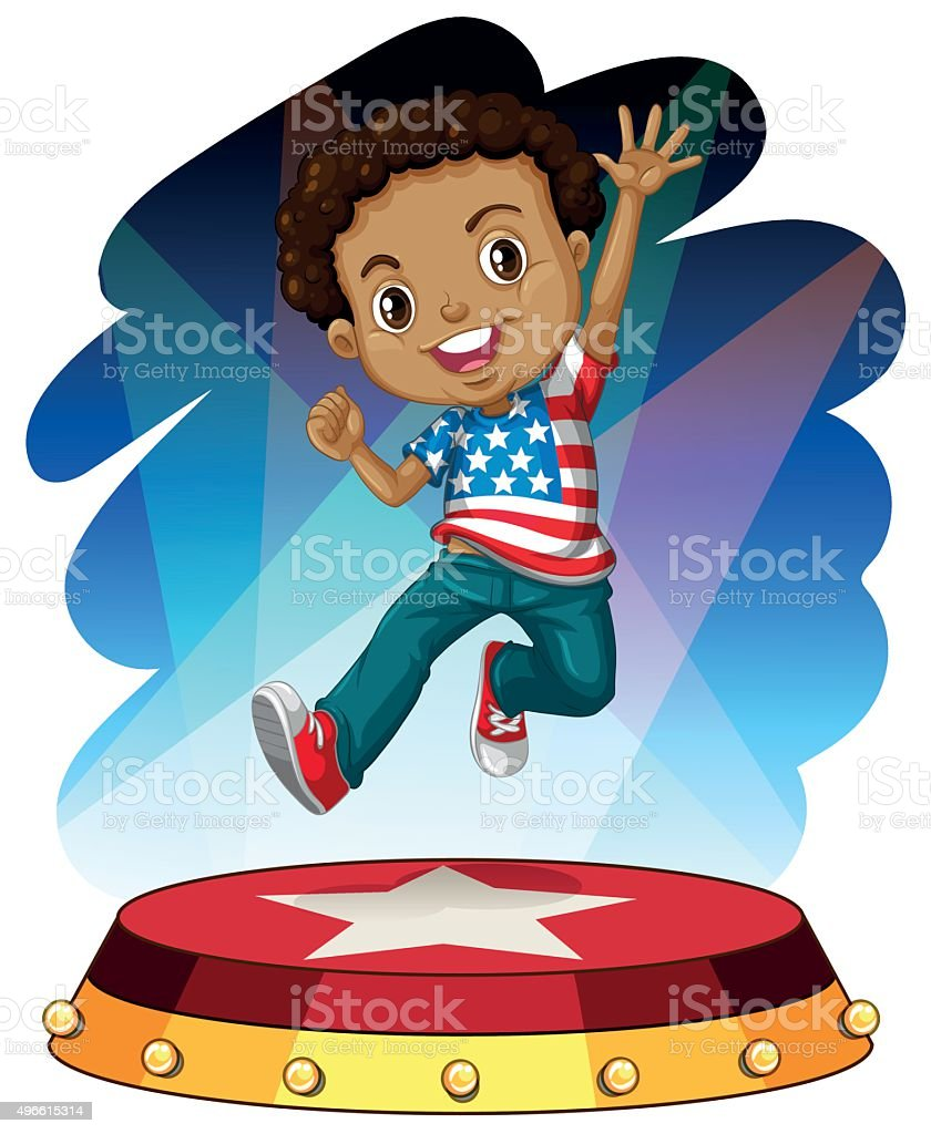 American boy jumping up on stage vector art illustration