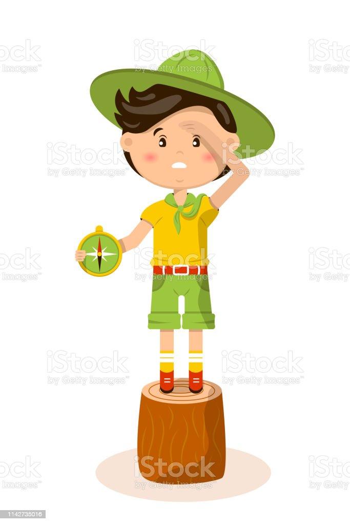 Ilustração americana do vetor do escuteiro de menino - ilustração de arte em vetor