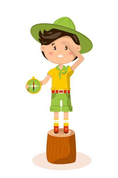 ilustrações, clipart, desenhos animados e ícones de ilustração americana do vetor do escuteiro de menino - orientador escolar