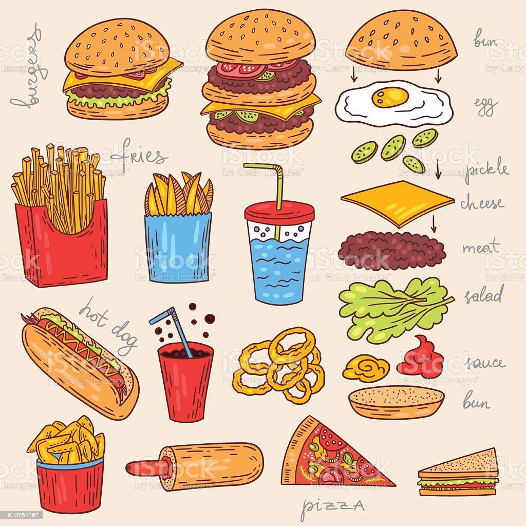 American burger food illustration collection vector art illustration