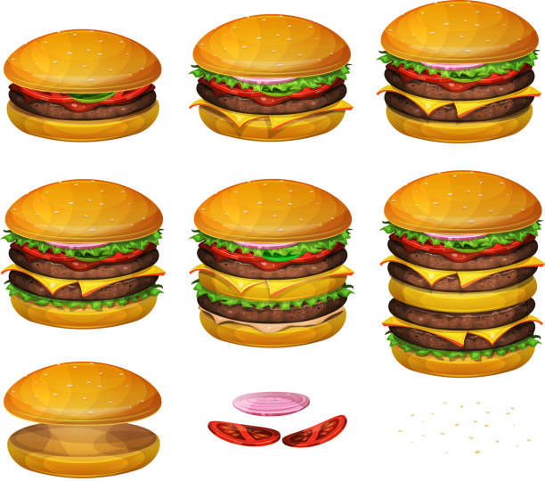 american burgers all size - cheeseburger stock illustrations