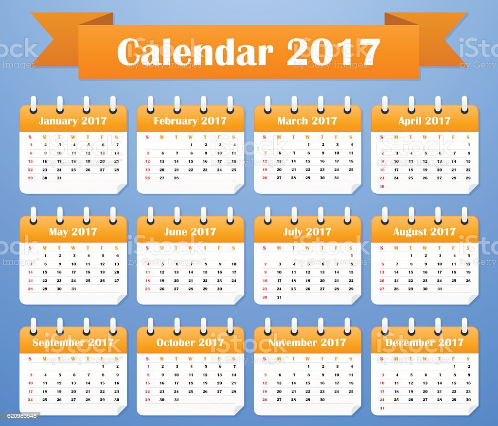 American Calendar for 2017. Week starts on Sunday ilustração de american calendar for 2017 week starts on sunday e mais banco de imagens de 2017 royalty-free