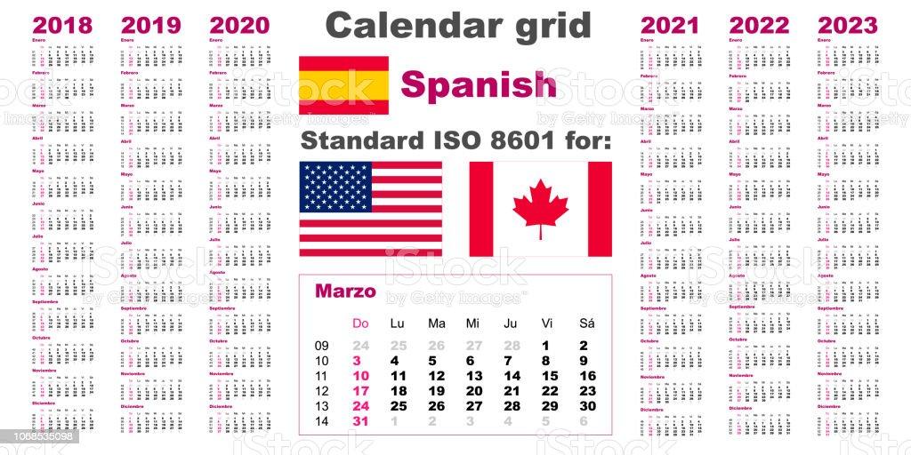 American Calendar 2020 American Calendar Standard Us Spanish Hispanic Language 2018 2019