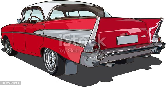 Rear view of old American car in vector drawing.
