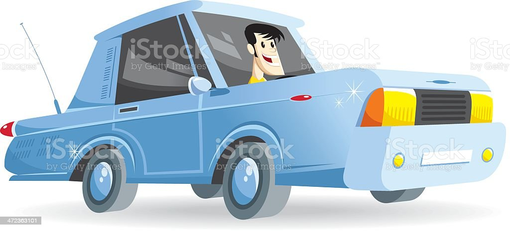 american car with driver vector art illustration
