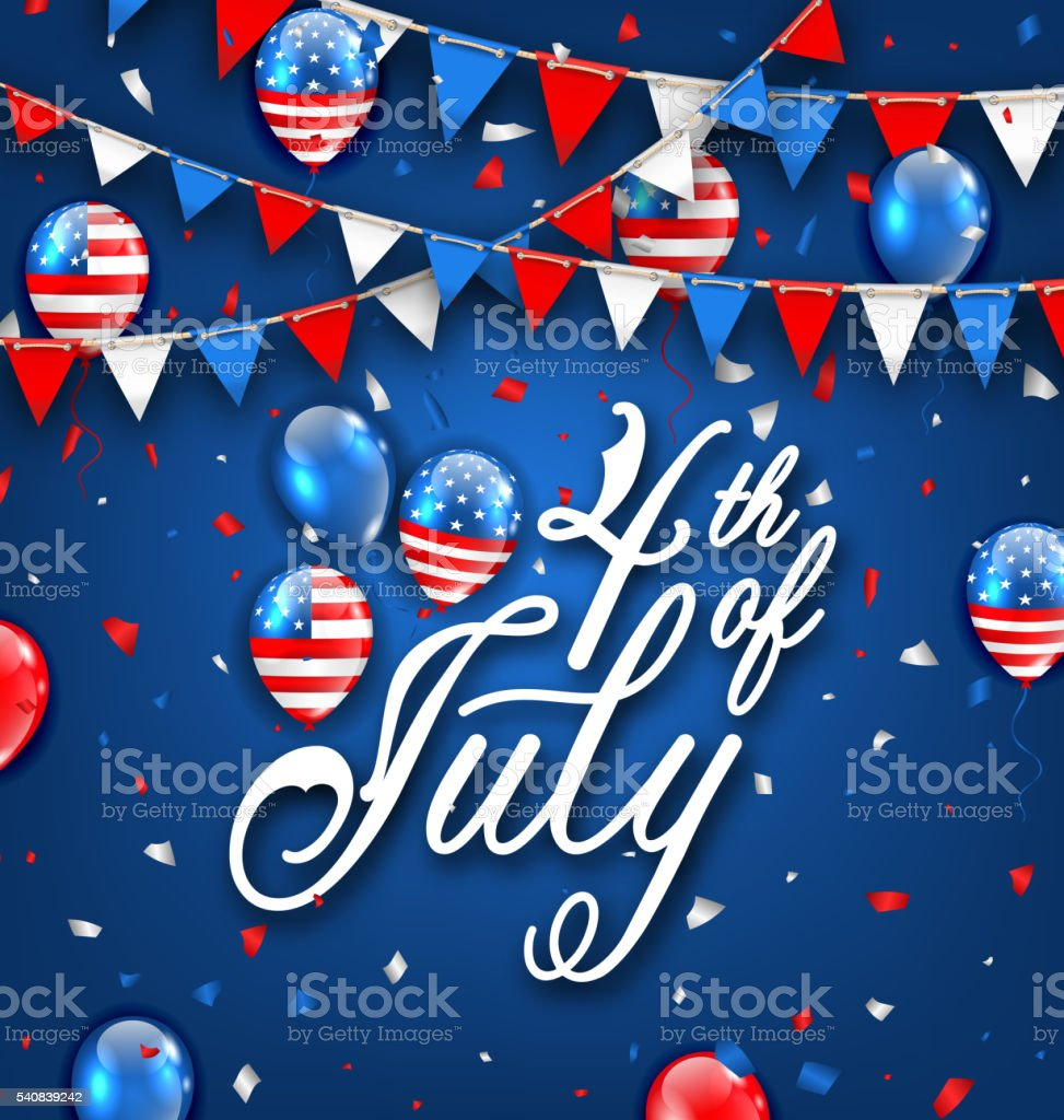 American Celebration Background for Independence Day 4th July vector art illustration