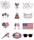 American celebration symbols including: fireworks, ribbon, rockets, balloons, cake, bunting, heart, champagne glasses, USA flag, baseball bat, American football ball, sunglass  presented on the American flag background in  stickers style, symbolizing national holiday