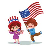 American children holding American flags. american patriots. Kid Waving a USA Flag. Independence Day.Happy 4th of July.