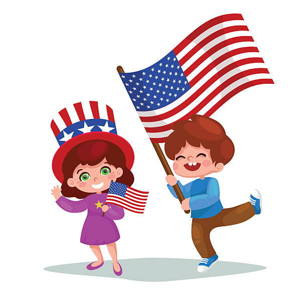 american children holding american flags. american patriots. - family 4th of july stock illustrations