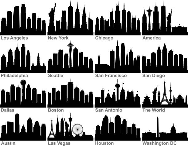 American Cities (All Buildings Are Complete and Moveable) vector art illustration