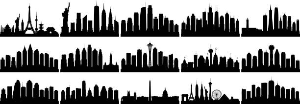 american cities (all buildings are complete and moveable) - philadelphia skyline stock illustrations, clip art, cartoons, & icons
