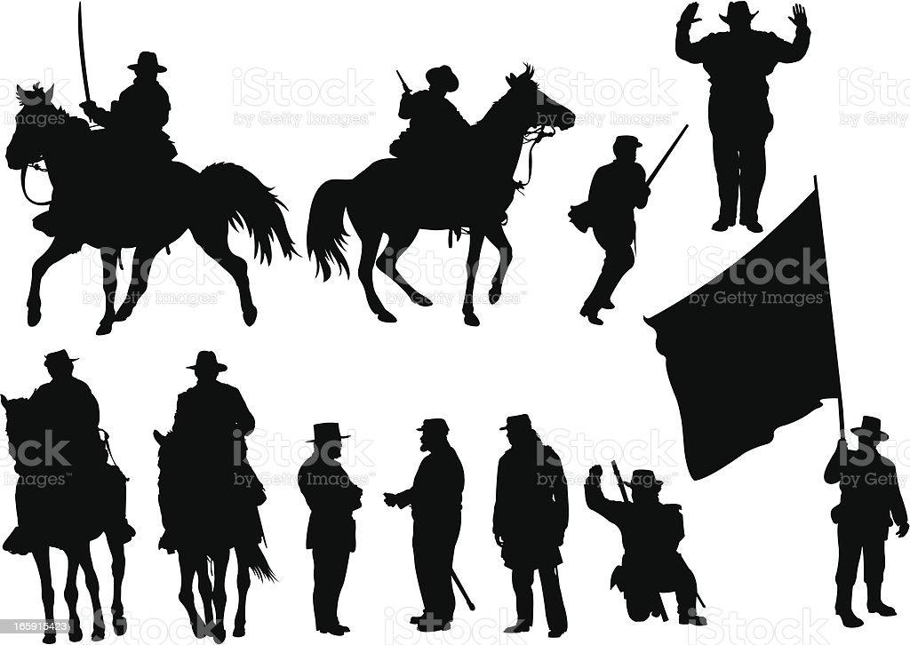 American Civil War Silhouettes vector art illustration
