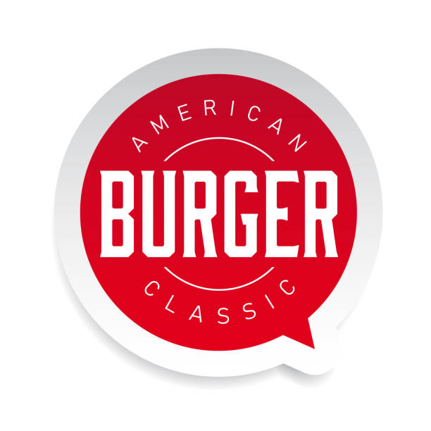 american classic burger stamp vintage - cheeseburger stock illustrations