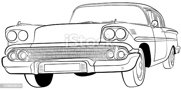 Classic American car illustration outline in vector